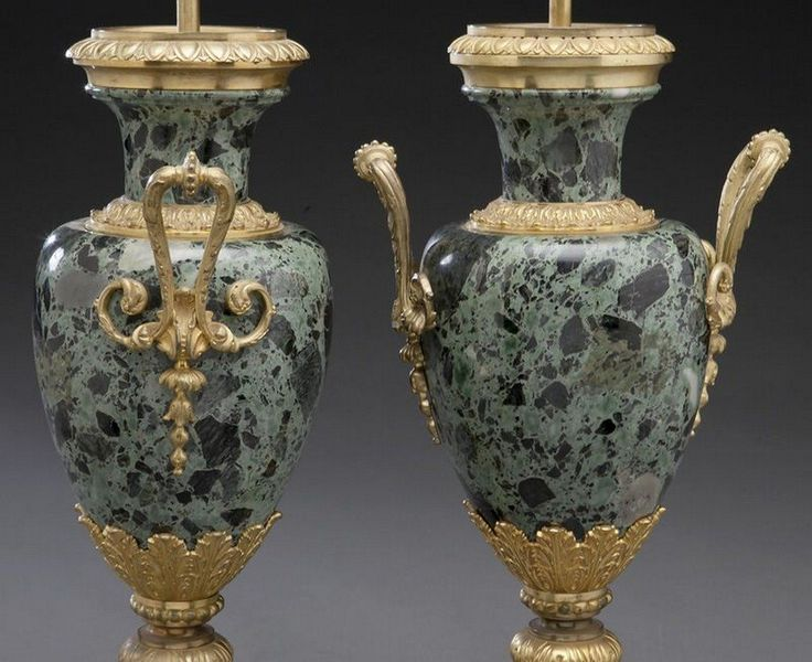 Lot: Pr. French variegated green marble lamps, Lot Number: 0115, Starting Bid: $1,000, Auctioneer: Dallas Auction Gallery, Auction: The Fine & Decorative Art Auction, Date: April 6th, 2016 PDT