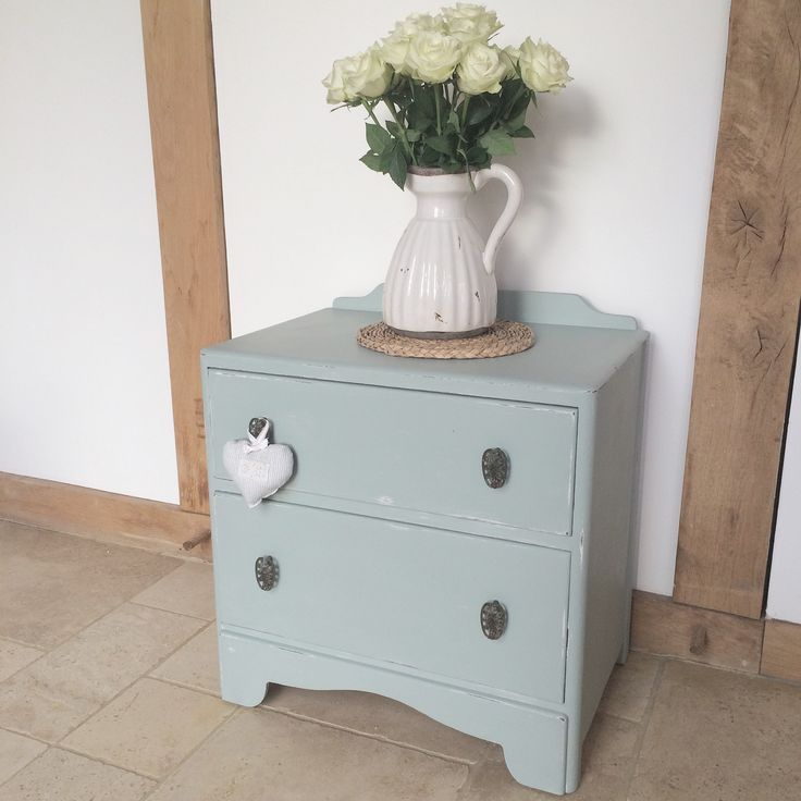 x Now Sold x  Chest of drawers painted with a mix of Duck Egg Blue & Old White x