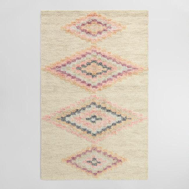 Blush Moroccan Style Diamond Wool Kya Area Rug, sale $299.99 - $524.99