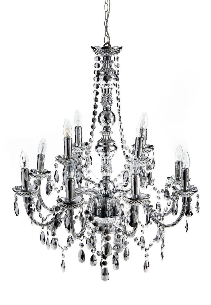 12 lights chandelier JEWEL SILVER