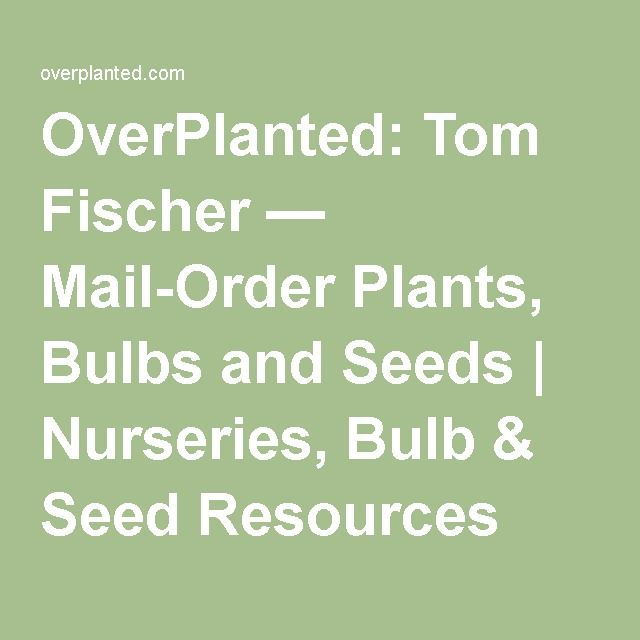 OverPlanted: Tom Fischer — Mail-Order Plants, Bulbs and Seeds | Nurseries, Bulb & Seed Resources
