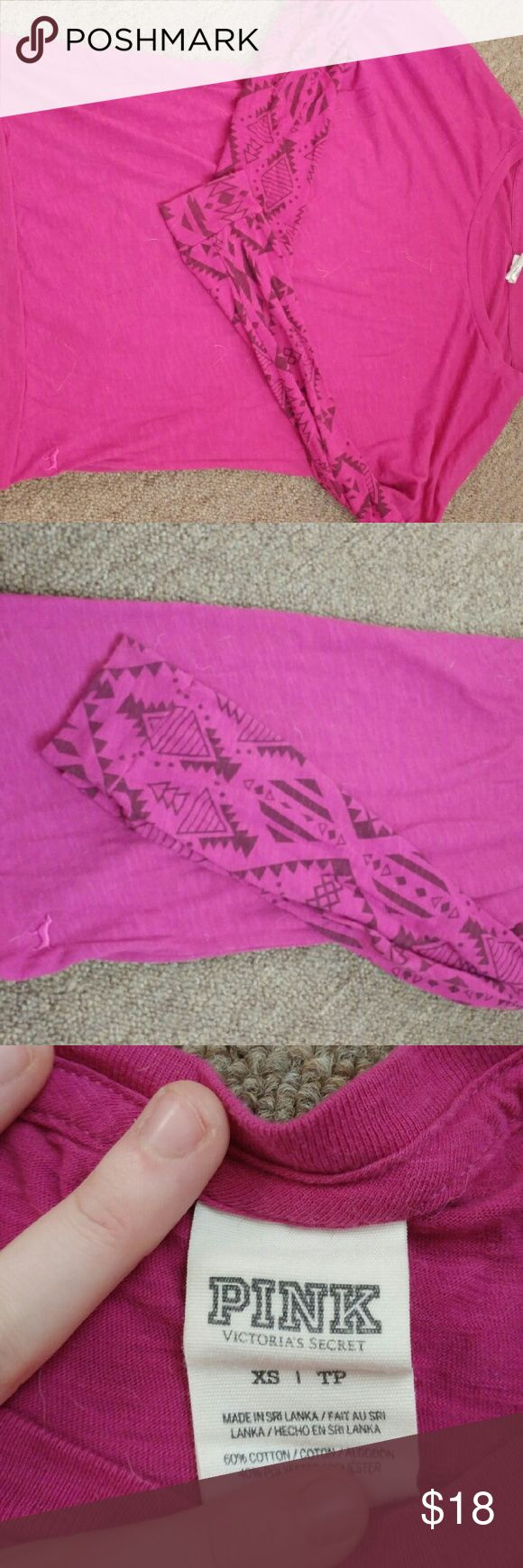 VS pink top Long sleeve maroon colored long sleeve top with Aztec markings on the sleeves. Gently used, no flaws. Says XS but fits like SM Victoria's Secret Tops Tees - Long Sleeve