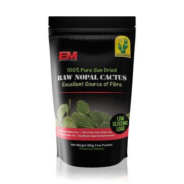 EM Super Foods 100% Pure Sun Dried Raw Nopal Cactus $24.95. Nopal Cactus Powder can be a positive choice on improving your health. It has been traditionally effective in promoting weight loss, regulating blood sugar and diabetes. It has also been known to reduce inflammation, counters the effects of alcohol, a gentle colon cleanser, lowers cholesterol and can pull fluids from the body's tissues into the bloodstream reducing the effects of edema and diminishing cellulite.