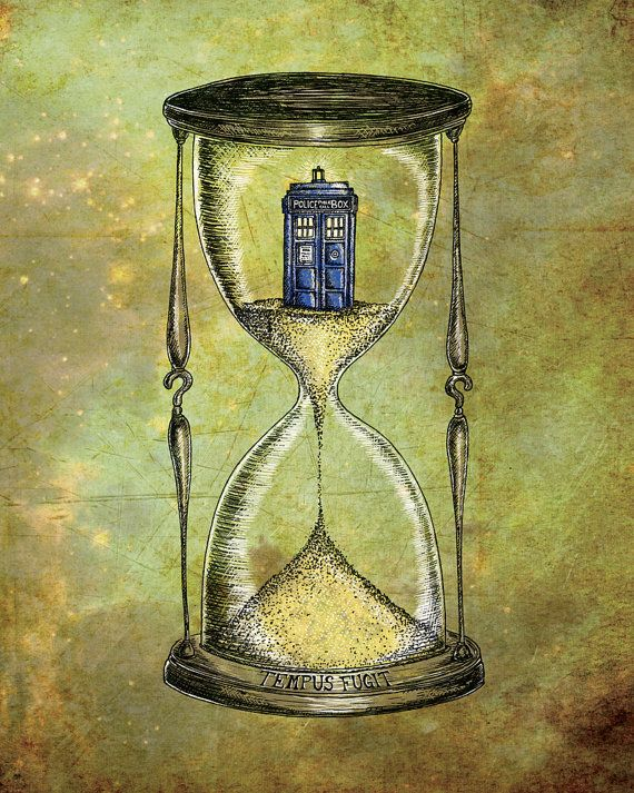 Doctor Who 8x10 print - Time Flies - Dr Who Tardis Hourglass inspired photo print art poster