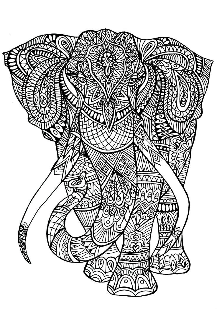 Dibujos para colorear mandala elefante
