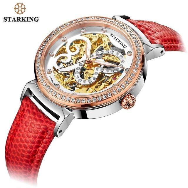 STARKING 2018 Fashion Automatic Mechanical Women Watch Hollow Skeleton Full Steel Lady Watch Women Montre femme Orologio Donna