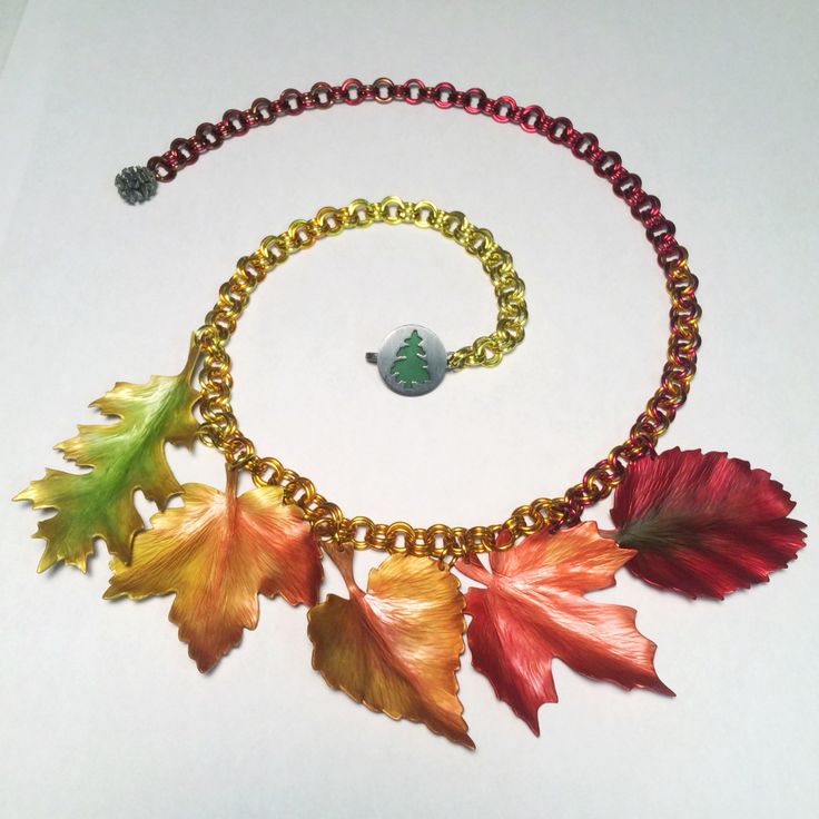 Autumn Foliage - Stephanie Elderfield, 2015. Anodized aluminum and sterling silver.