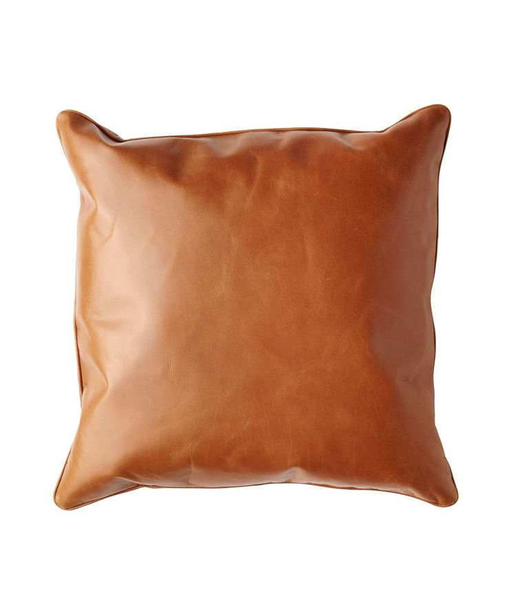 Tan Leather Cushion Cover. | http://www.huntingforgeorge.com
