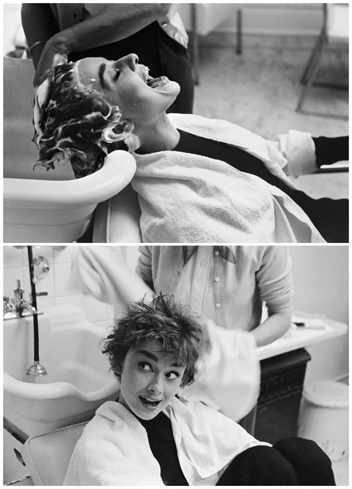 "Audrey Hepburn being shampooed on the set of ""Sabrina"", 1954. Photographed by Mark Shaw."