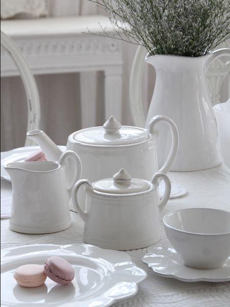 フランス COTE TABLE (コテターブル) Constanceシュガーポットホワイトは、フランスCote Tableの洋食器・ヨーロッパ食器 ~ サラグレース ~