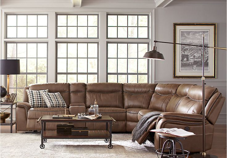 Picture Of Cindy Crawford Home Barton Springs Brown 6 Pc Sectional From Reclining Sectionals Furniture