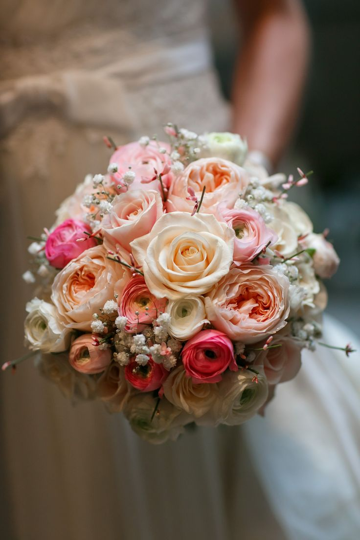 Peach Juliet David Austin Rose With Cream Roses And