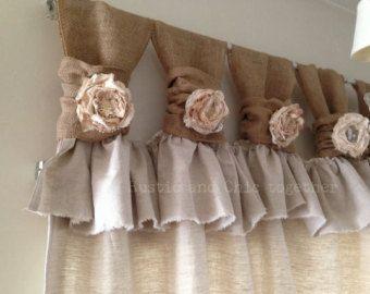Toile de jute/lin large froncée tabs rideaux-thé teinté roses