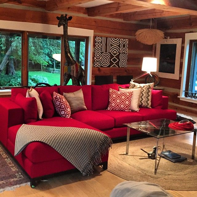 """She said """"Micheal, I want to big red comfy sofa"""" and wow I'm glad she did! Love The final product! #micheallambieinteriors #interiordesign"""