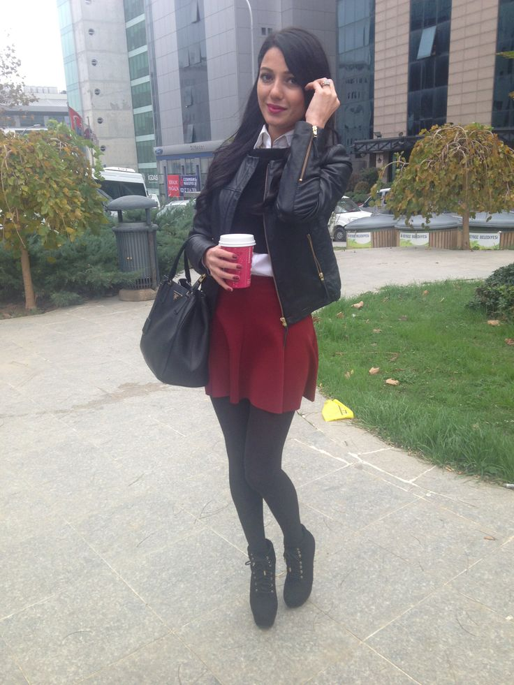 College Girl Style Leather Jacket Outfit Bordeaux Skirt Maun Skirts Outfit 2014 Winter Fashion