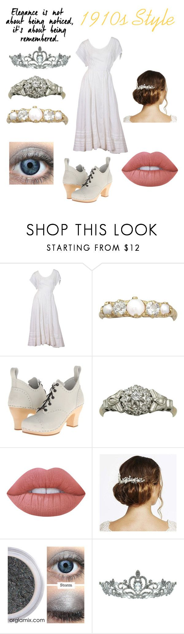 """1910s Style"" by slytherinprincess-2 ❤ liked on Polyvore featuring Batiste, Swedish Hasbeens, Lime Crime, Jon Richard, Kate Marie, diamonds, old, laceupshoes and Edwardiandress"