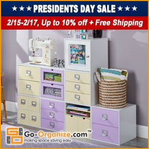 SAVE on NEW #Crafting & #Home #Storage and #Organization products from Go-Organize.com! Right now you can SAVE BIG during their President's Day Sale & Get FREE Shipping! Click this image to start shopping & saving! #organize #organizing #organization #storage #crafting #scrapbooking #papercrafting #cardmaking #stamping #sewing #quilting #jewelrymaking #beading #knitting #crocheting #kidsrooms