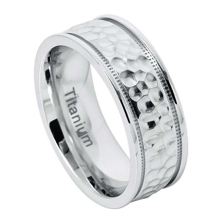 8mm White IP Titanium Brushed Dimpled Finish & Milgrain on the side