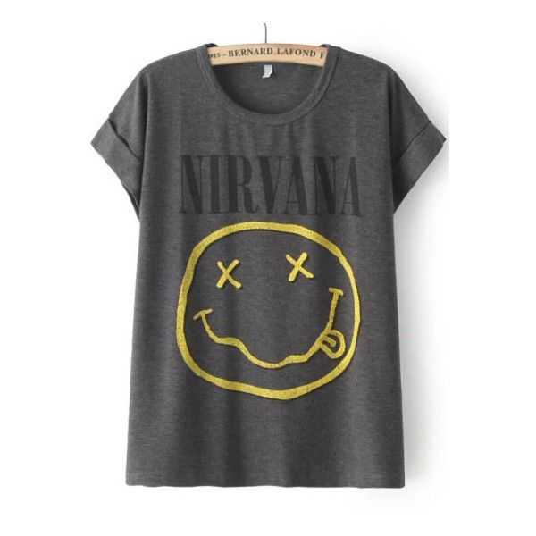 Grey Short Sleeve NIRVANA Face Print T-Shirt (27 LTL) found on Polyvore featuring tops, t-shirts, shirts, band tees, blusas, grey, gray shirt, short sleeve cotton shirts, gray t shirt and grey shirt