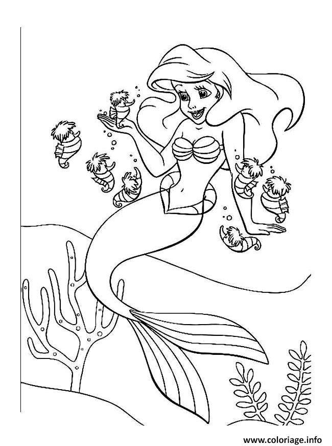 Coloriage Ariel Arielle Petite Sirene Jecolorie En 2020