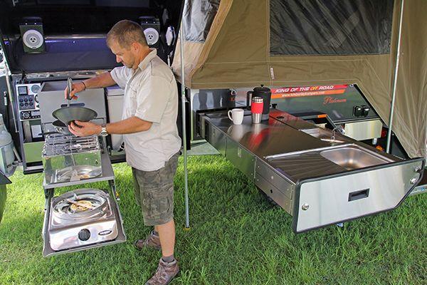 camper trailer   lightweight off-road camper trailer kitchen with cooking