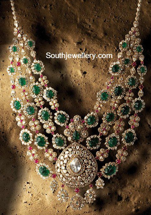 Layered Flat Diamond Emerald Haram photo
