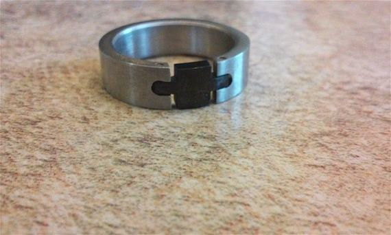 Mens stainless steel ring onyx Mens onyx ring  ring size 8.5