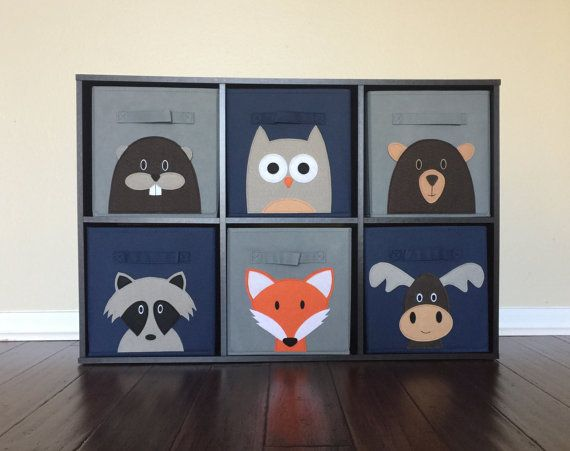 Storage Bin Set For Woodland Nursery. SewFreakinAwesome, Cube Storage, Kids  Storage, Fabric