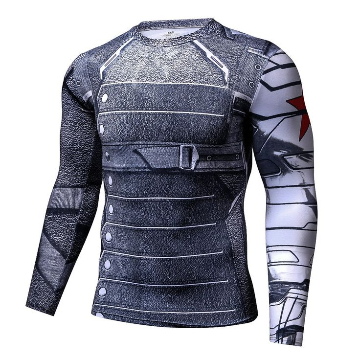 Winter Soldier Long Sleeves 3D Print Cool Compression T-shirt #Superhero #WinterSoldier #LongSleeves #3DPrint #Cool #Compression #T-shirt