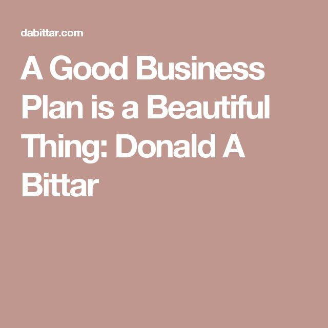 A Good Business Plan is a Beautiful Thing: Donald A Bittar