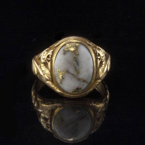 Rare Antique Early Victorian Gold Quartz 14k Gold Carved