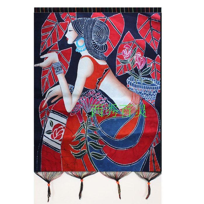 贵州安顺纯手工苗族画旅游纪念蜡染壁挂徐波礼品正品工艺品红叶女-淘宝网
