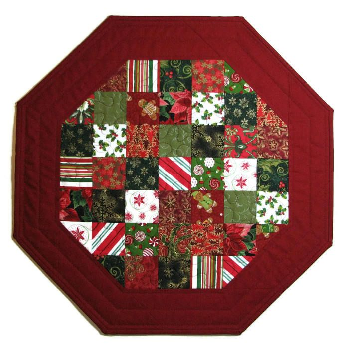 Christmas Quilted Table Topper, Scrappy Octagon Table Mat, Red Green Gold White Christmas Candle Mat, Quiltsy Handmade by VillageQuilts on Etsy