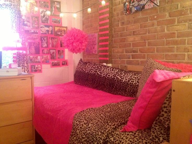 Dorm Room Pink Cheetah Bright Lights