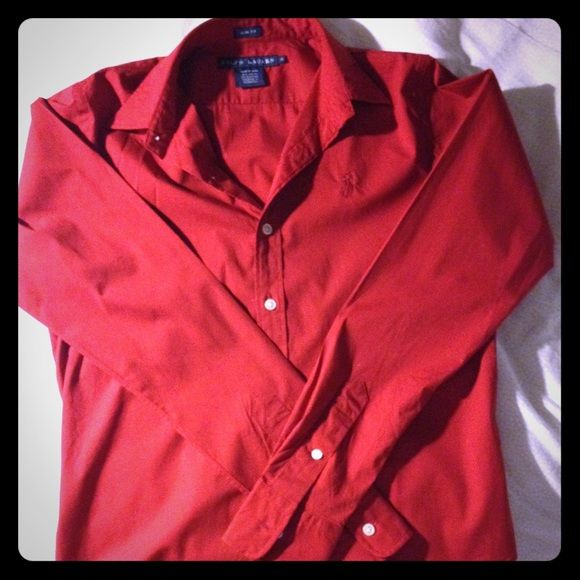 EUC Ralph Lauren red slim fit dress shirt, sz 4 EUC Ralph Lauren beautiful red slim fit dress shirt, tone on tone pony logo, comes with collar stays to keep crisp. Size 4 (slim), fits TTS. In perfect condition, no tears or fading. Ralph Lauren Tops Button Down Shirts
