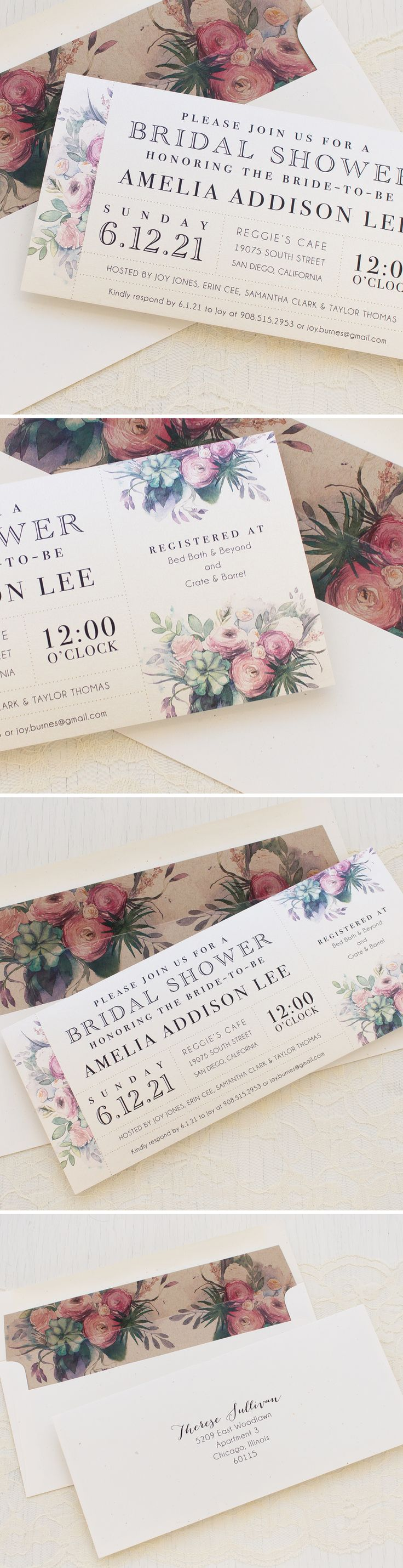 Succulent & Soft Purple Watercolor Rose Bridal Shower Invites! Delight your guests and impress your girls with these little cuties. Each set include a matching envelope liner printed on rustic taupe paper. New from Beacon Lane and only $3.00/each!