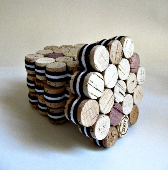 Honeycomb Wine Cork Coasters With Vintage Brown And White Striped Ribbon Rustic Eco Friendly Home
