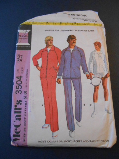 McCalls 3504  size large 4244 Mens Jog Suit by MadkDesigns on Etsy, $9.99