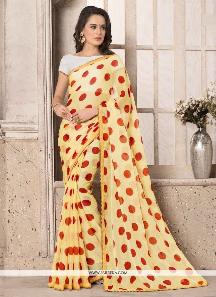 Precise beauty can come out as a results of the dressing style and design with this yellow faux chiffon and georgette printed saree. This beautiful attire is showing some superb embroidery done with p...