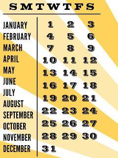 Free Calendar Filler Card