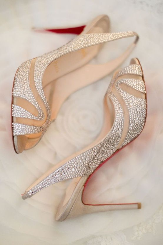 Crystal Christian Louboutin Slingback Wedding Shoes
