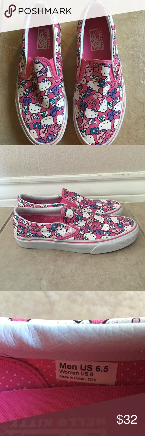 Hello Kitty Vans Slipons Hello Kitty Vans Slipons. Brand new. Hello Kitty print. Slip on. No signs of wear. Size 8. Vans Shoes Sneakers