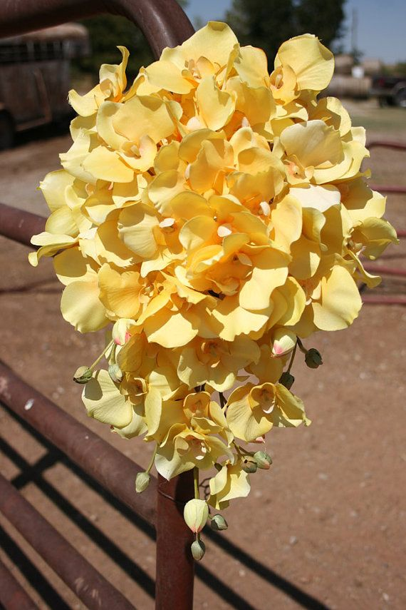 Yellow Cascading Orchid Bridal Bouquet $45  Or a DIY petal explosion with colored silk petals.