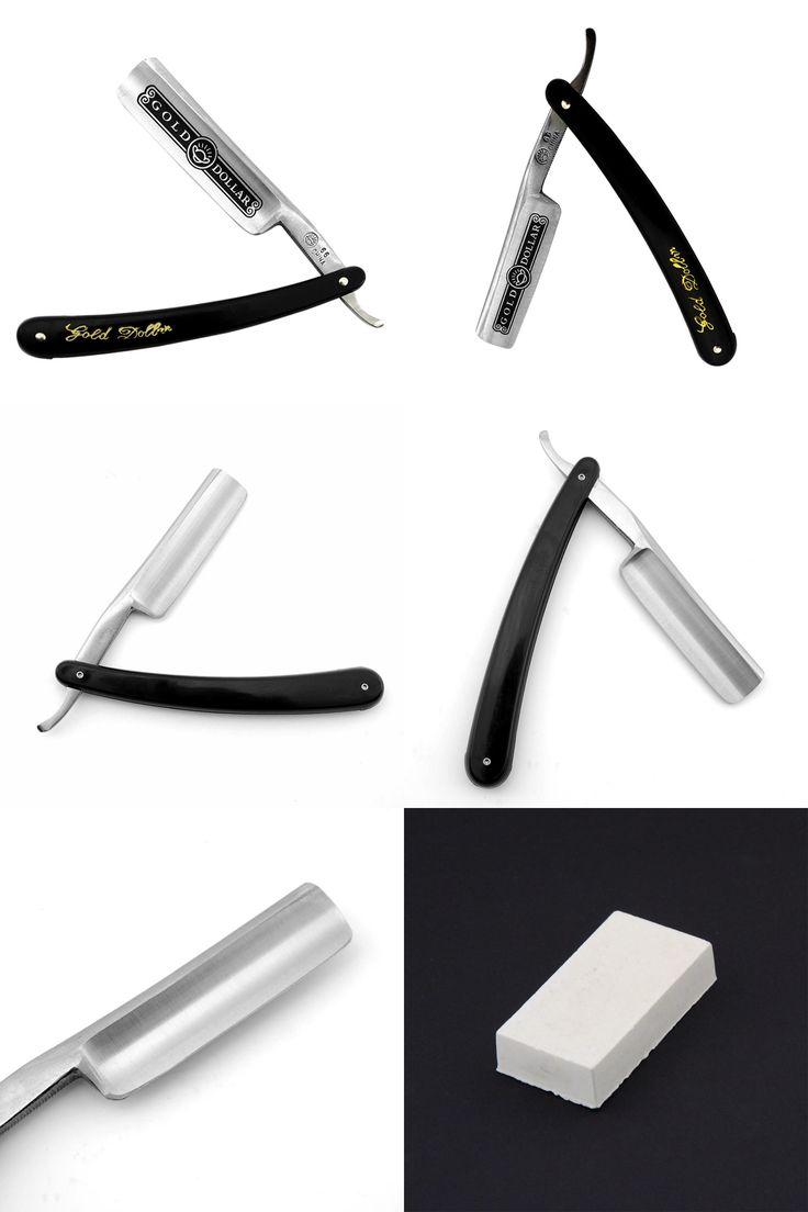 [Visit to Buy] Gold Dollar 66 Straight Razor Folding Shaving Knife Men Cut Throat Shave Beard Razor W/ White Polishing Paste #Advertisement