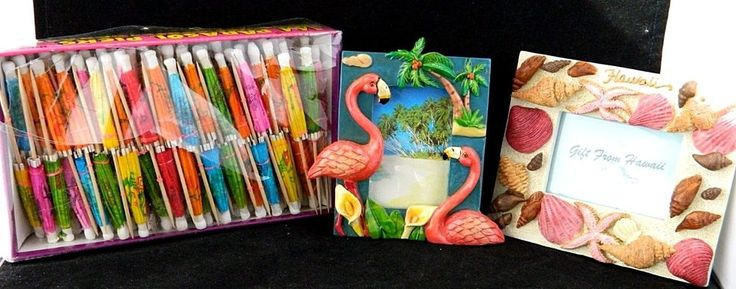Lot 2 Tropical Frames Vacation Hawaii Shell Flamingo Design Parasol Drink Picks #Unbranded #Hawaiian