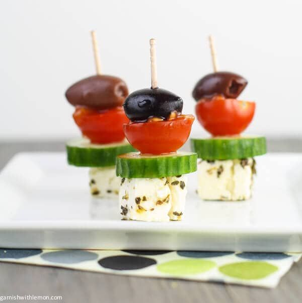 These Greek Salad Skewers are super quick, super easy appetizers that taste like a greek salad on a stick.
