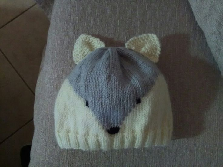 Knitting baby beanie fox