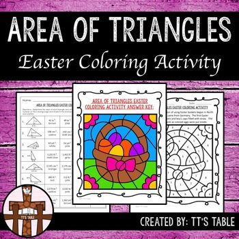 Great for test prep!In this activity your students will have 8 triangles to calculate area. As students correctly identify the area of each figure, their answers will be linked to colors, and the colors will be used to complete an Easter themed coloring activity.This product is 2 of 8 Easter coloring activities that will be an Area, Perimeter, and Volume Easter Coloring Activity Bundle.