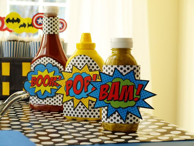Even the condiments can get in on the fun. | How To Throw The Most Awesome Superhero Party Ever Cheap, simple things to do for the superhero in your life, no need to wait for a party on some of these.