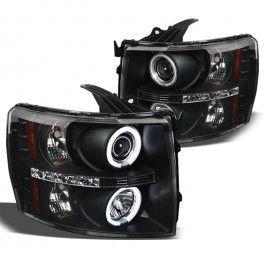 SPYDER 2007-2013 Silverado 1500, 2007-2014 2500HD/3500HD DRL LED CCFL Halo Projector Headlights - Black